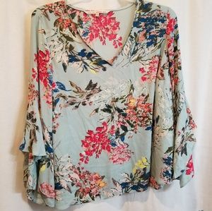 Rachel floral ruffled sleeve shirt